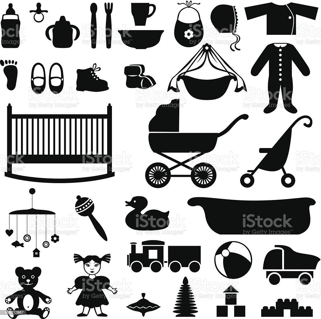 Set of children's things vector art illustration