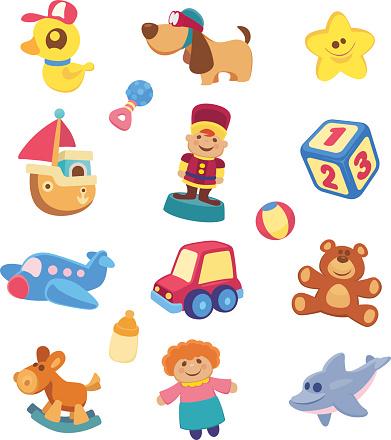 A Set Of Childrens Toy Images Stockvectorkunst en meer beelden van Cartoon