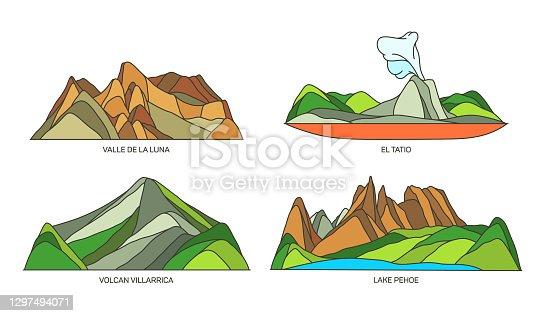 istock Set of Chile landmarks nature scenery, landscapes 1297494071