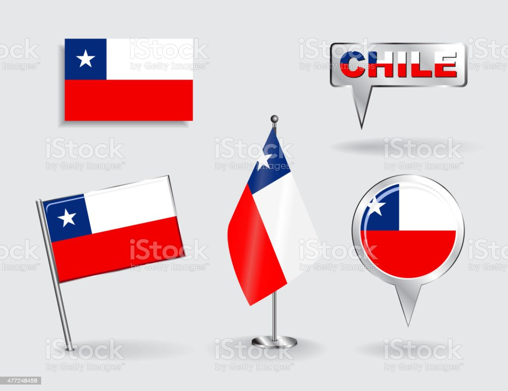 Set of Chilean pin, icon and map pointer flags. Vector vector art illustration
