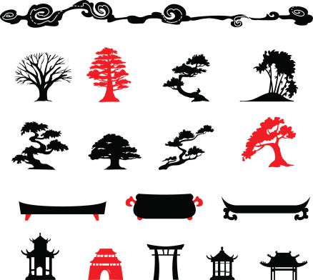 Set of chines bonsai trees Isolated on white background