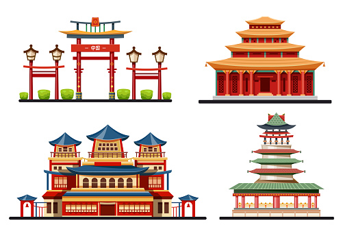 Set of chinese buildings or Asian architecture