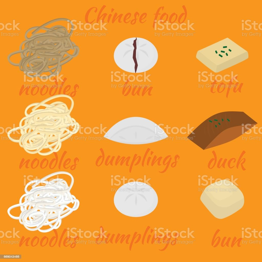 Set Of Chinese Food Flat Design Elements Asian Street Food