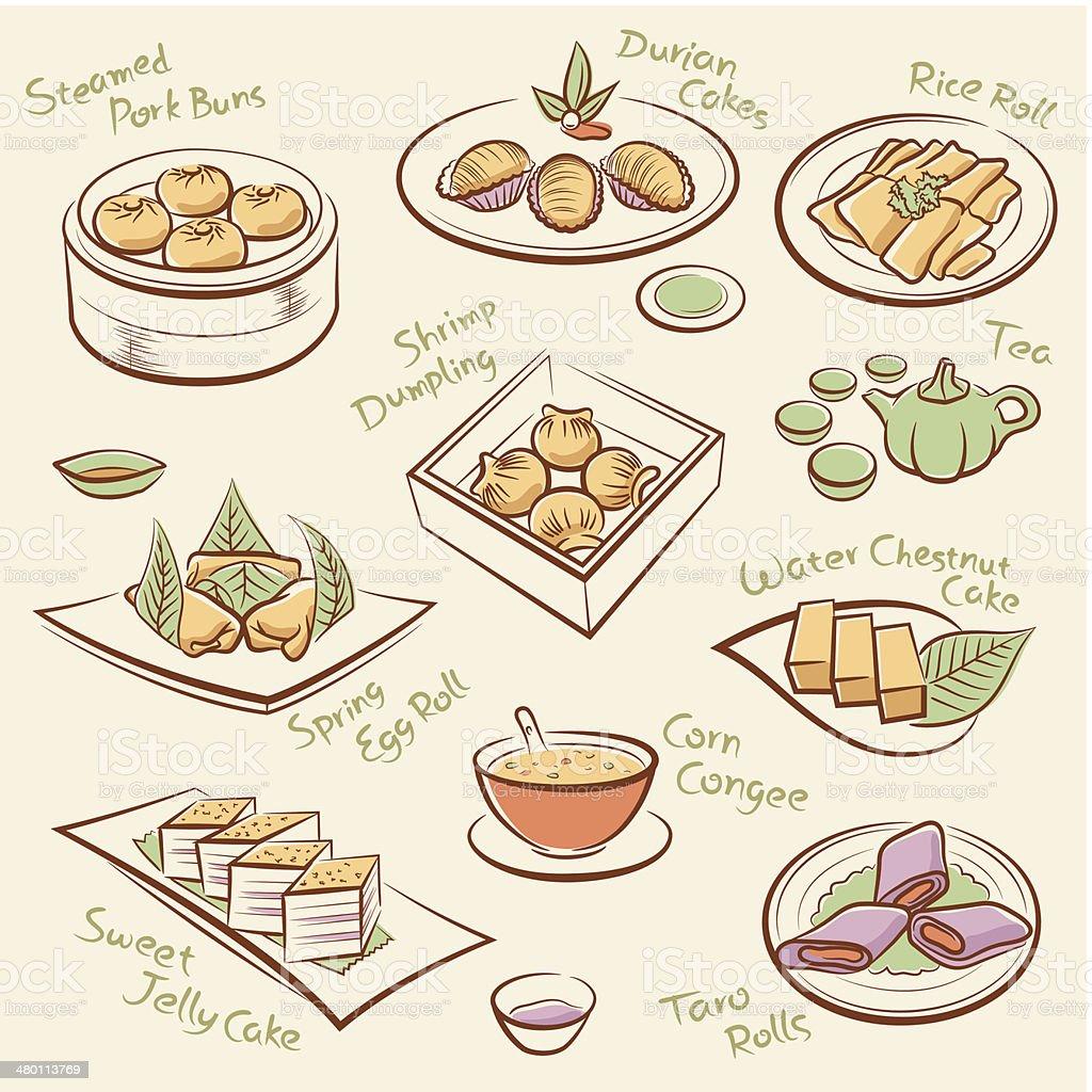 セットの中華料理です。 ベクターアートイラスト
