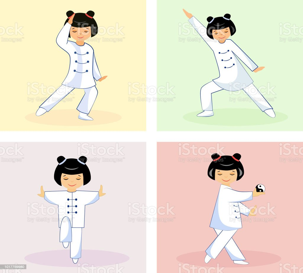 Set Of Chinese Girls Doing Exercises Tai Chi And Qigong