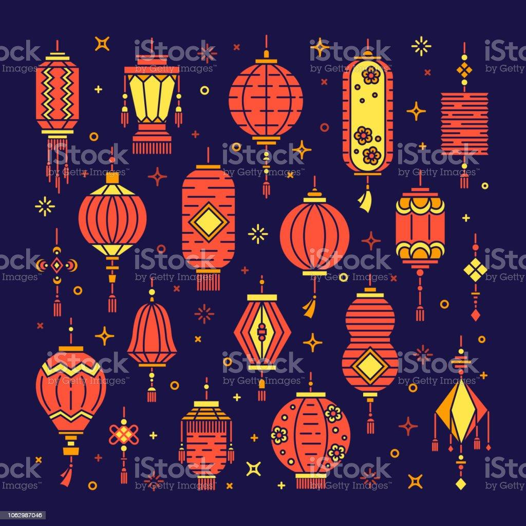 Set Of Chinese Lanterns Stock Illustration - Download ...