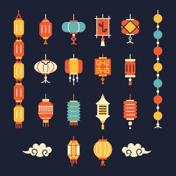 Set of chinese lanterns. Different lanterns for decoration, greeting card, packaging. lantern stock illustrations