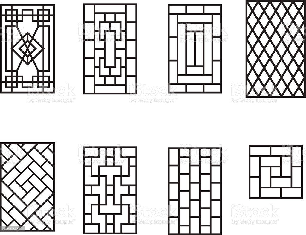 Set Of Chinese Pattern Window Frame Stock Vector Art & More Images ...