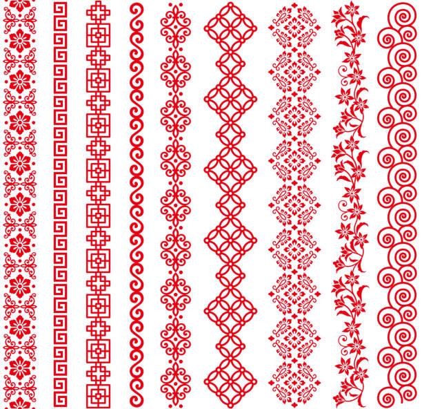Set of Chinese style borders. Set of Chinese decorative borders. frame border stock illustrations