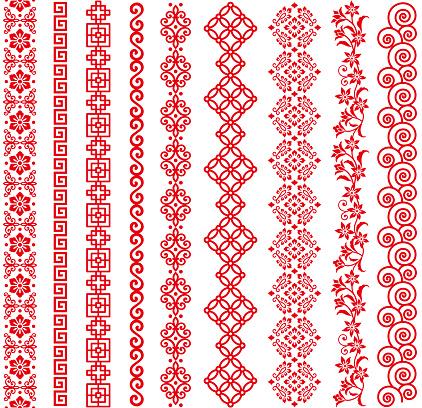 Set Of Chinese Style Borders — стоковая векторная графика и другие изображения на тему Азия