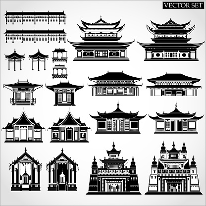 Set of Chinese temples, gates and traditional buildings