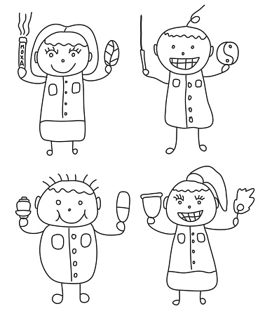 Set of chinese traditional doctor doodle art style