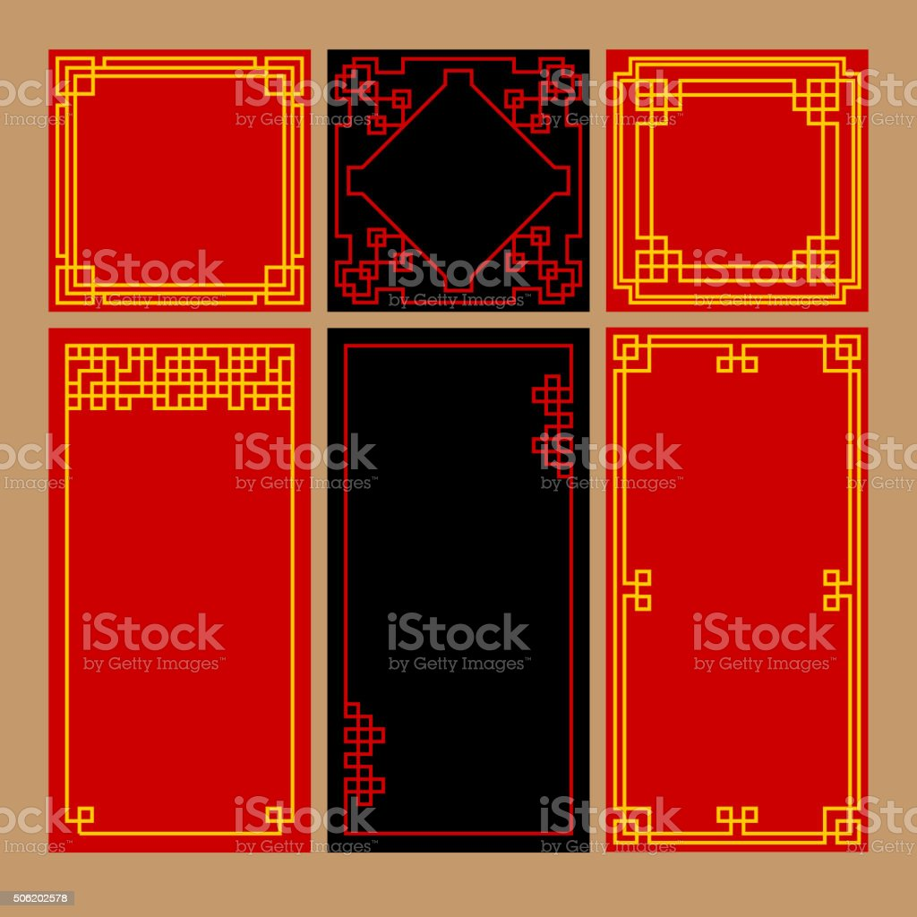 Set of Chinese vintage graceful frames vector art illustration