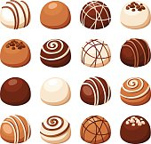 Vector set of chocolate candies isolated on a white background.