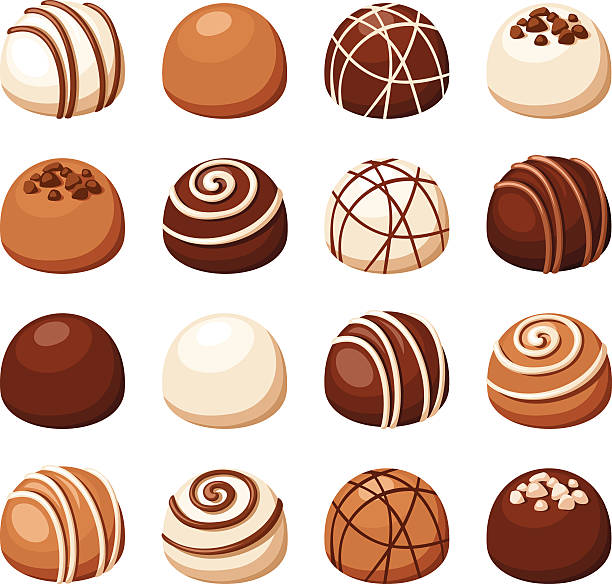 Set of chocolate candies. Vector illustration. Vector set of chocolate candies isolated on a white background. candy silhouettes stock illustrations