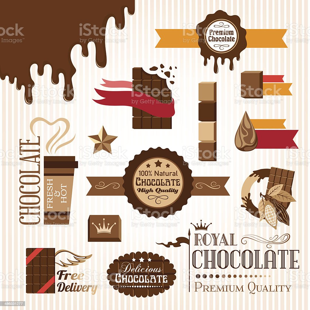 Set of chocolate decorative elements vector art illustration