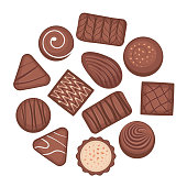 Set of chocolate desserts and candies. Chocolate candies collection. Vector illustration of different shapes and kinds of chocolate candies, isolated on white background.