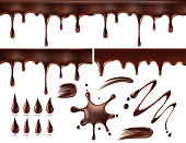 Set of chocolate drops and blots. Isolated on white. Vector illustration