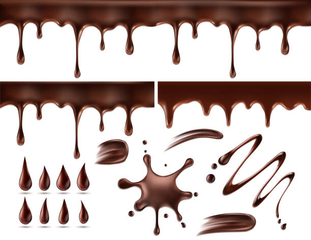 illustrazioni stock, clip art, cartoni animati e icone di tendenza di set of chocolate drops and blots. isolated on white. vector illustration - cioccolata