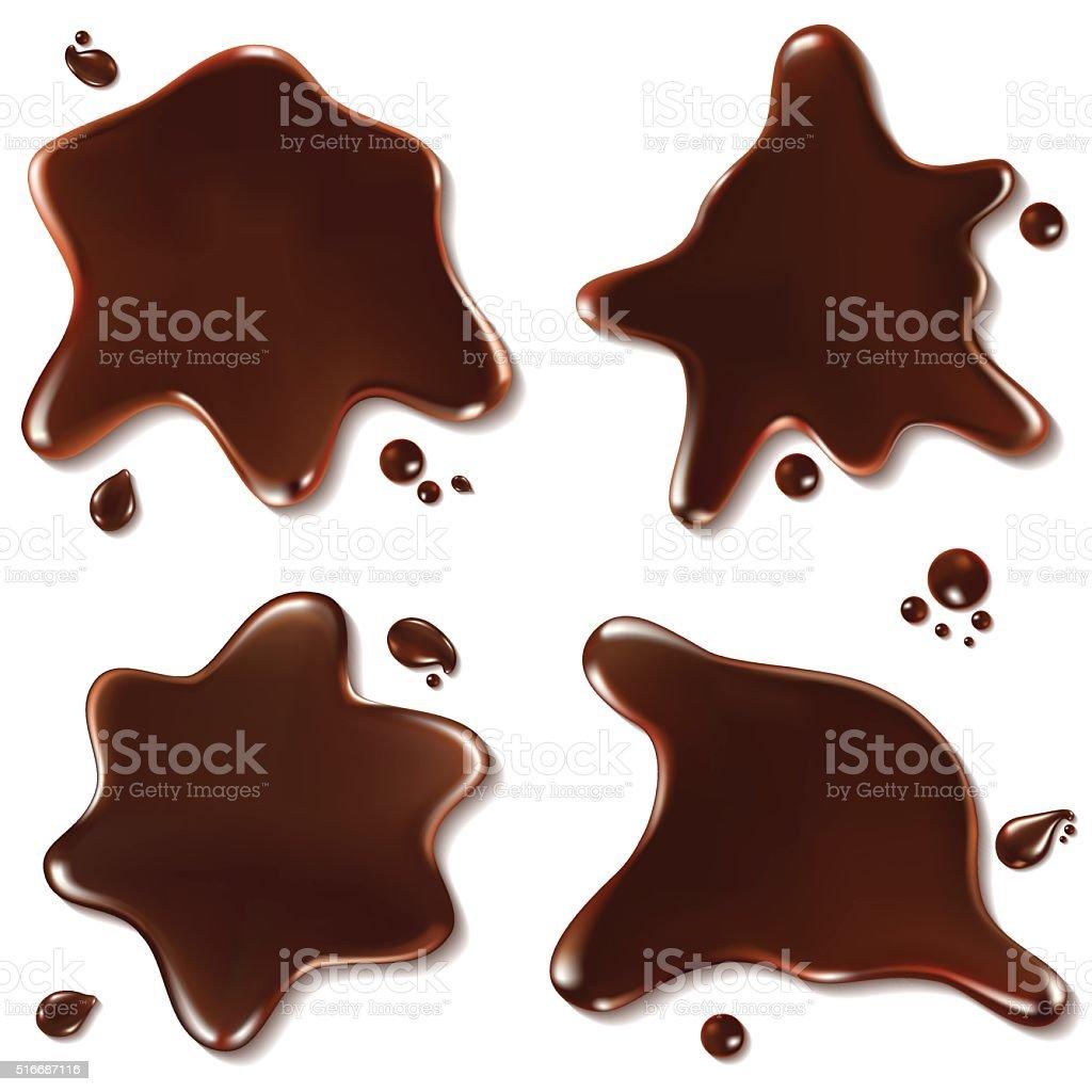 Set of chocolate drops and blots vector art illustration