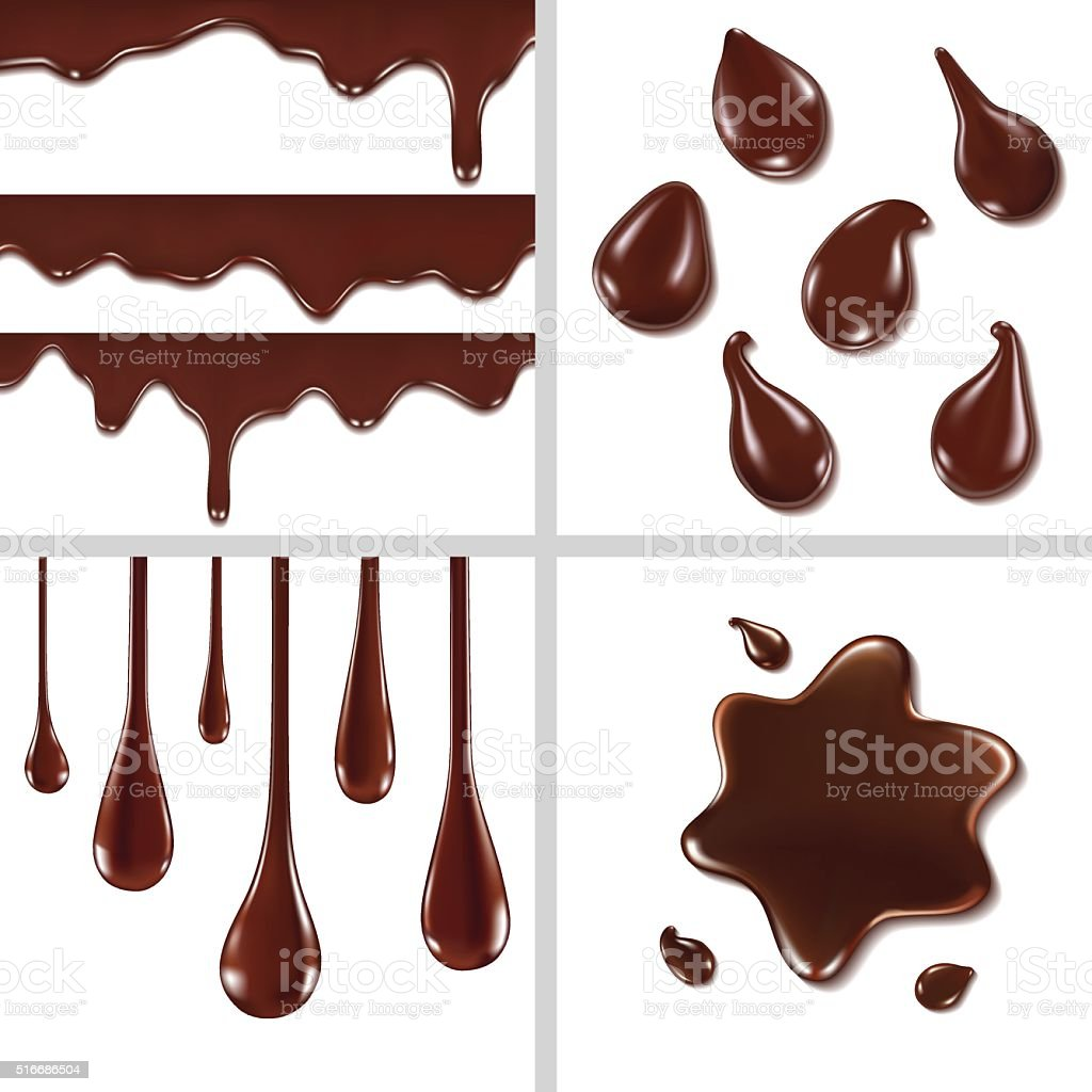 Set of chocolate drops vector art illustration