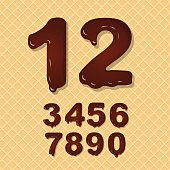 Set of Chocolate  numbers vector set