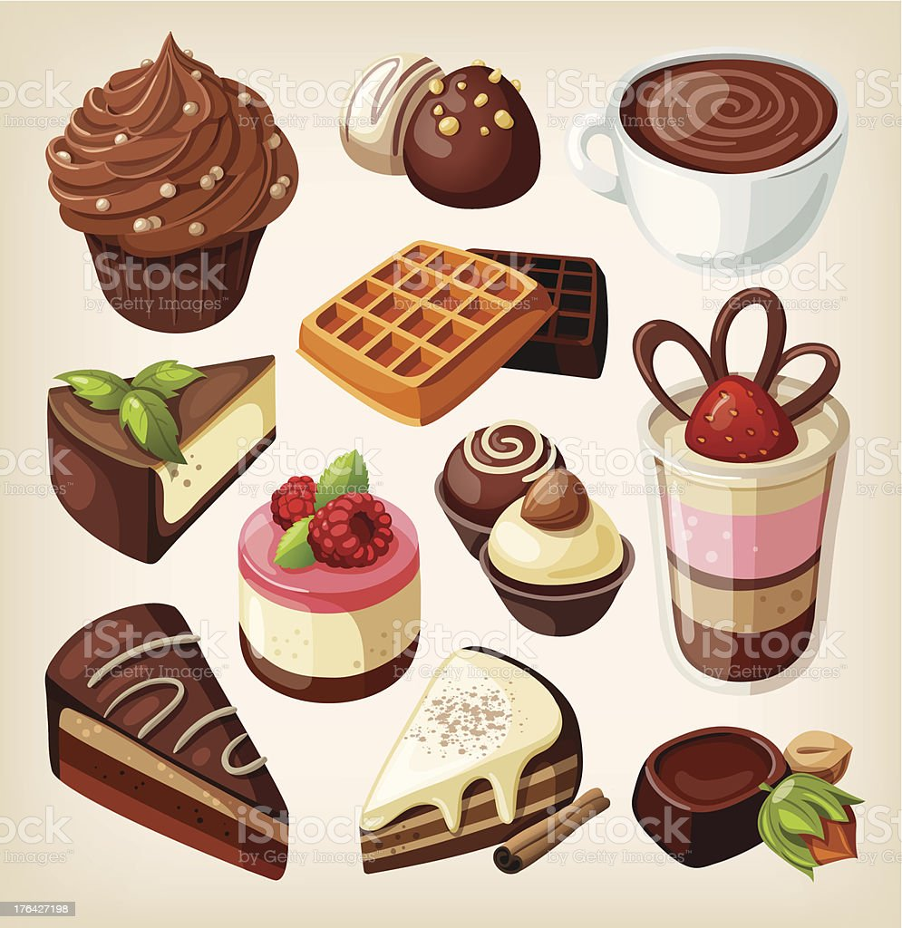 Set of chocolate sweets, cakes and other food vector art illustration