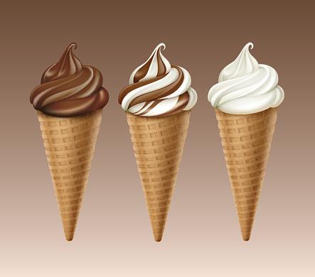 set of Chocolate White Soft Serve Ice Cream Waffle Cone