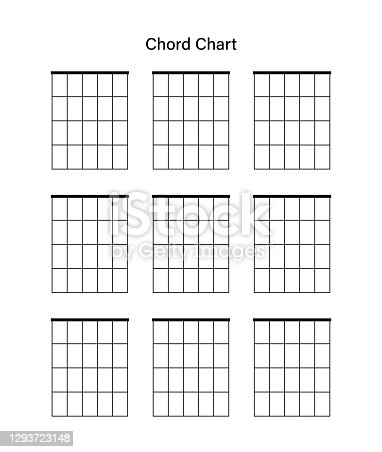 Set of chord chart. Chord diagram. Vector illustration. Tab empty. Tabulation. Tablature on white background.