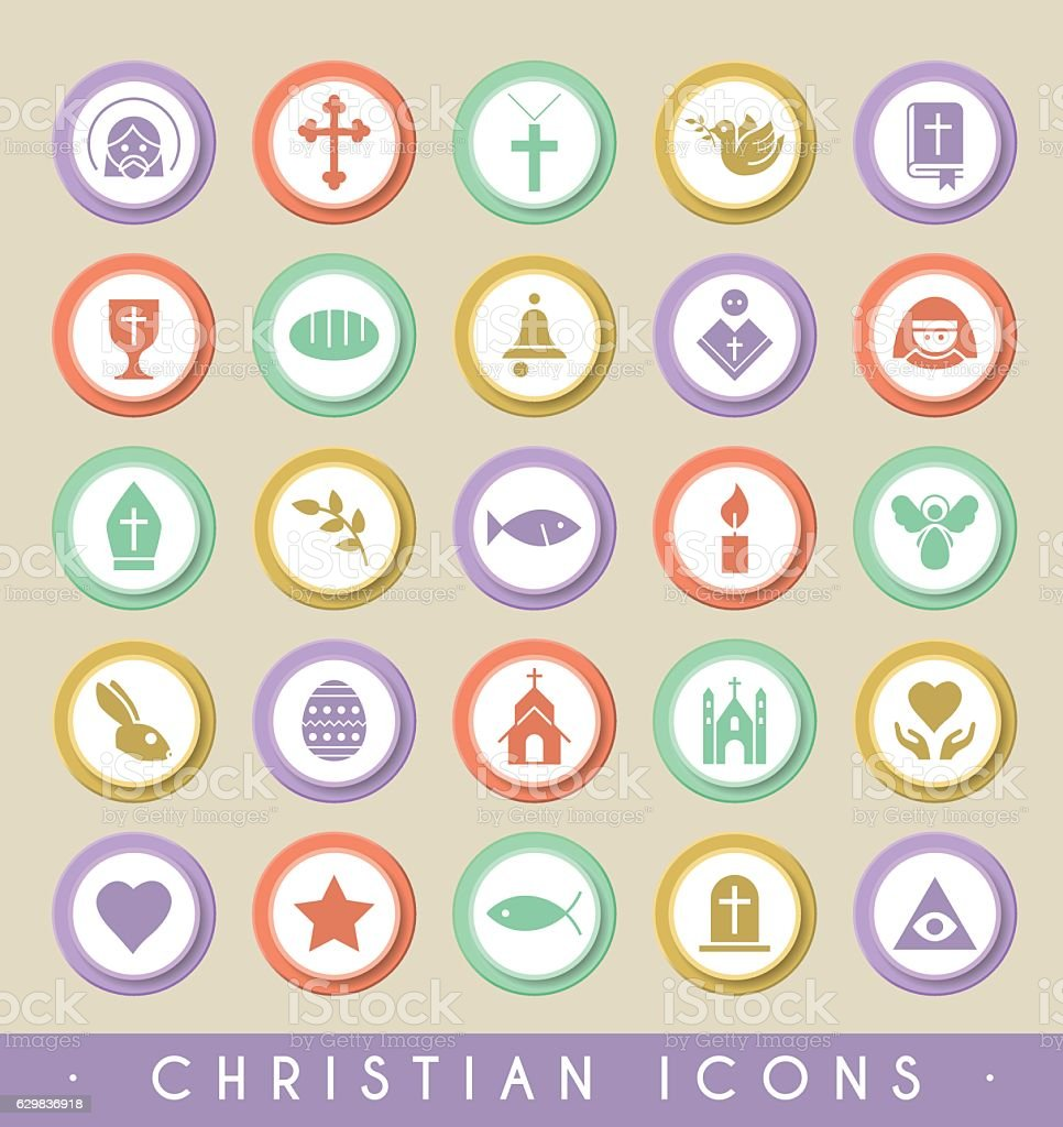 Set of Christian Icons on Circular Colored Buttons. - illustrazione arte vettoriale