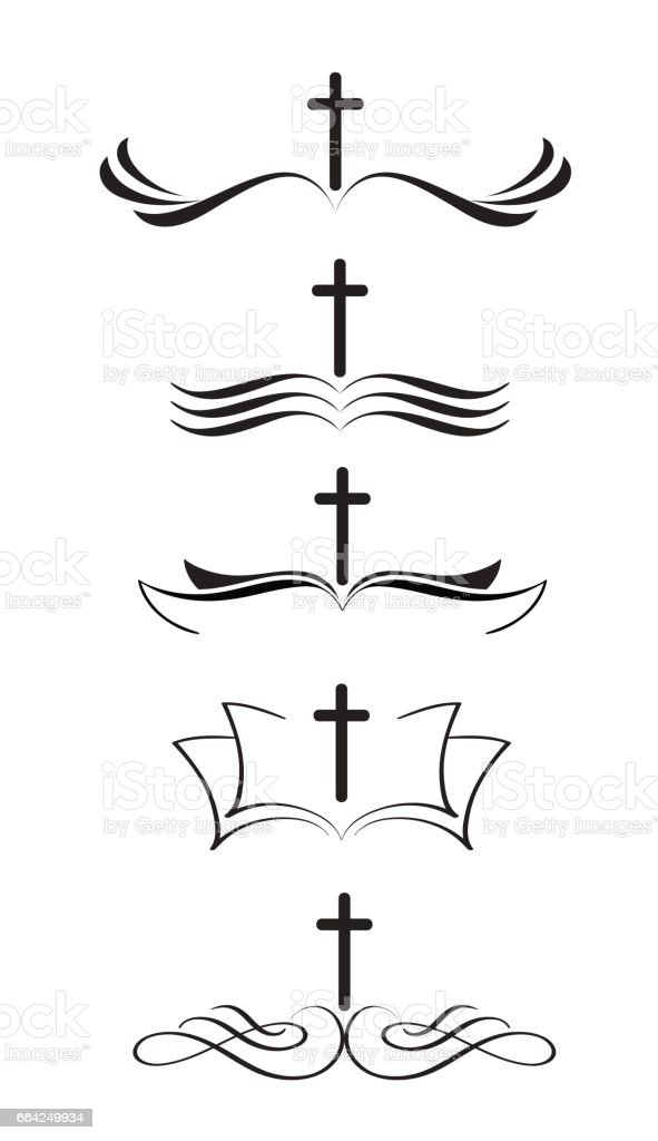 Set of christian logos cross and bible. stylized Hand drawn vintage Calligraphy lettering Vector illustration EPS10