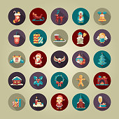 Set of Christmas and Happy New Year flat design vector icons
