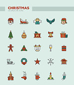 Set of Christmas and Happy New Year line flat design vector icons