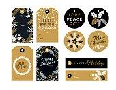 Set of Christmas and holiday tags - Illustration