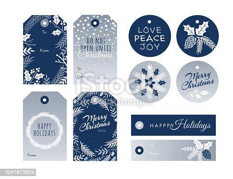 istock Set of Christmas and holiday tags. 1041873924