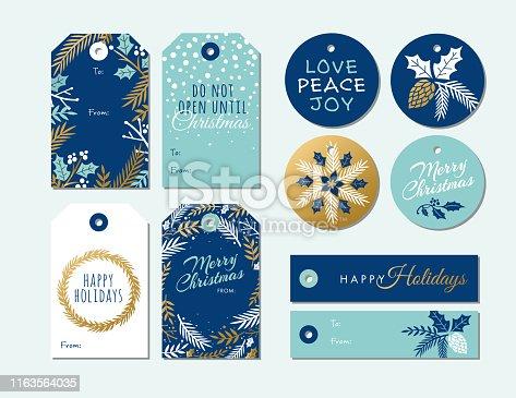 istock Set of Christmas and holiday tags. 1163564035