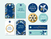 Set of Christmas and holiday tags - Stock illustration