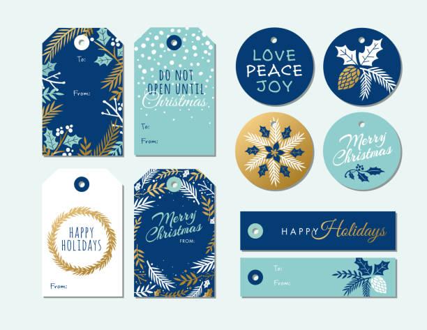 stockillustraties, clipart, cartoons en iconen met set van kerst en vakantie tags. - kerstster