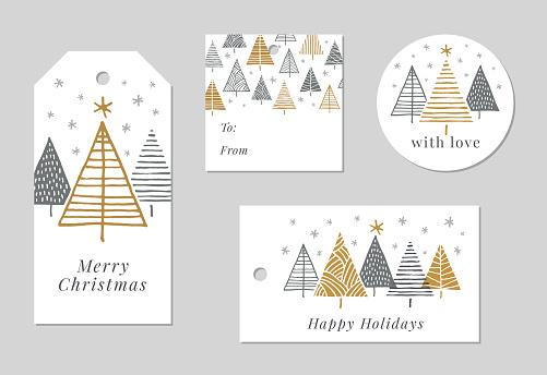 Set of Christmas and holiday tags.