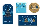 Set of Christmas and holiday tags. Stock illustration