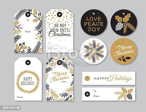 istock Set of Christmas and holiday tags 626784148