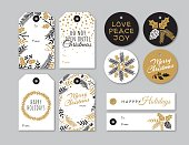 Set of Christmas and holiday tags