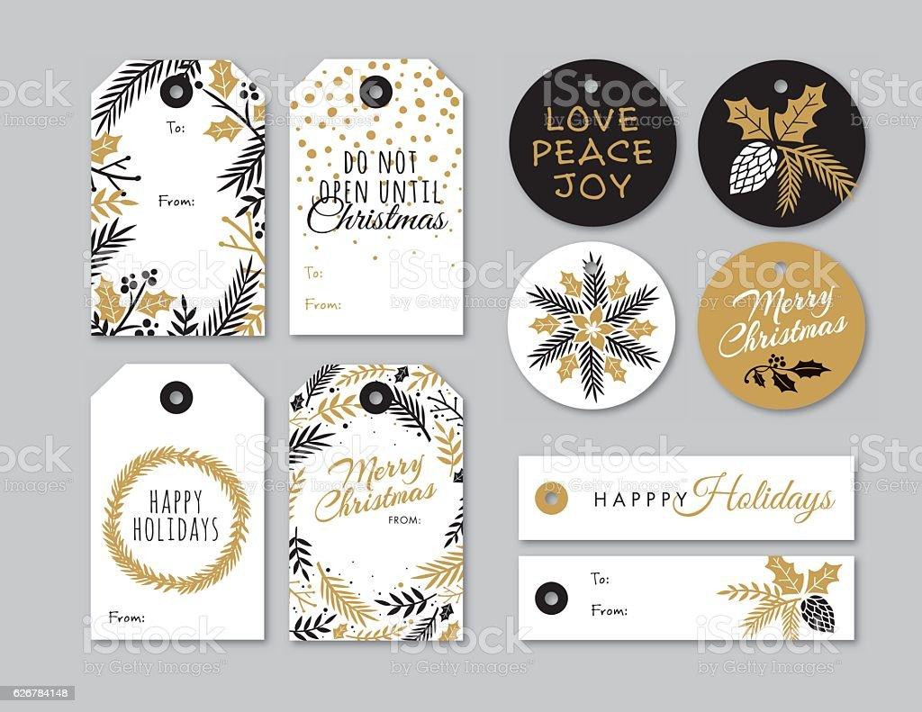 Set of Christmas and holiday tags vector art illustration