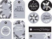 Set of Christmas and holiday tags