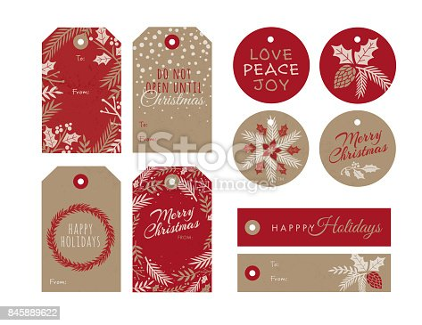istock Set of Christmas and holiday tags 845889622
