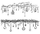 クリスマスと新年の飾りのセット。花輪やライトはベクター スケッチです。