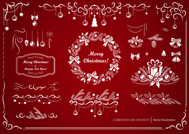 ilustrações de stock, clip art, desenhos animados e ícones de set of christmas and new year elements.  illustration of differents motifs  and decoratives elements (wreath, border, bauble, ribbon, bow and gift box). - christmas elements