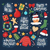 Set of Christmas and New Year vector elements on the dark blue backgroud. Hand-drawn style.