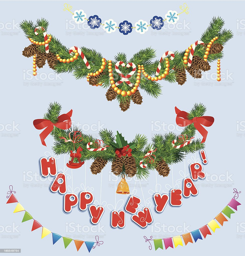 Conjunto de Natal e Ano Novo garlands - Royalty-free Abeto arte vetorial