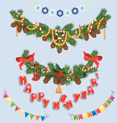 Conjunto De Natal E Ano Novo Garlands - Arte vetorial de stock e mais imagens de Abeto